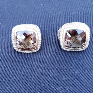 David Yurman 14mm Smokey Quartz & Diamond Earrings